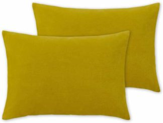 An Image of Lorna Set of 2 Velvet Cushions, 35 x 50cm, Chartreuse