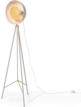 An Image of Ward Tripod Floor Lamp, Grey & Gold Foil