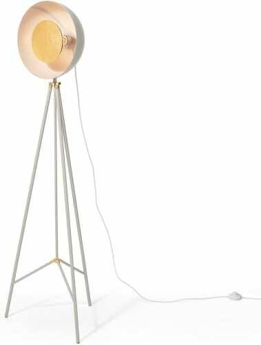 An Image of Ward Tripod Floor Lamp, Grey & Gold Foil