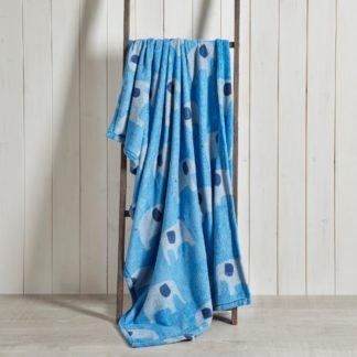 An Image of Elephant Fleece Blanket Light Blue