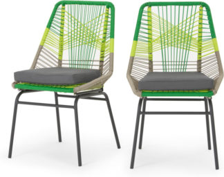 An Image of Copa Garden Set Of 2 Dining Chairs, Citrus Green