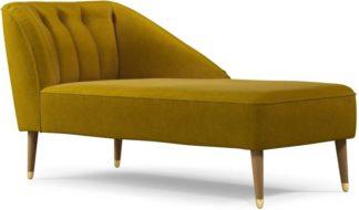 An Image of Margot Right Hand Facing Chaise Longue, Antique Gold Cotton Velvet, Light Wood Brass Leg