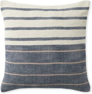 An Image of Banda Woven Stripe Cushion 45 x 45cm, Indigo Blue