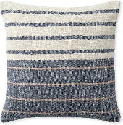 An Image of Banda Woven Stripe Cushion 45 x 45cm, Indigo Blue