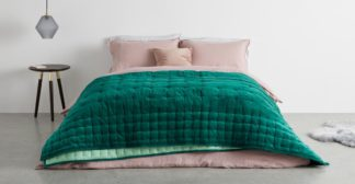 An Image of Syrah 100% Cotton Velvet Bedspread. 225x220cm, Storm Green