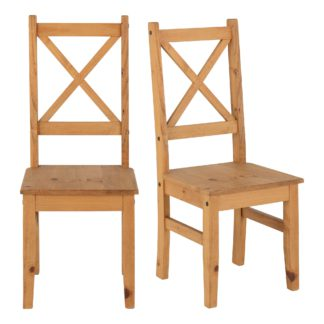 An Image of Salvador Set of 2 Dining Chairs Pine Brown