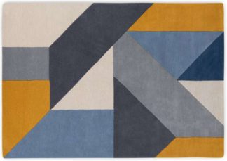 An Image of Holden Geometric Hand Tufted Wool Rug, Large 160 x 230cm, Tonal Blue