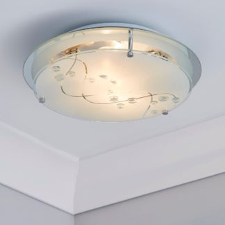 An Image of 2 Light Glass Flush Ceiling Fitting White