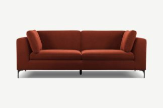 An Image of Monterosso 3 Seater Sofa, Brick Red Velvet with Black Leg