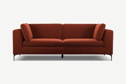 An Image of Monterosso 3 Seater Sofa, Brick Red Velvet with Black Leg