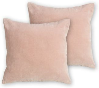 An Image of Lorna Set of 2 Velvet Cushions, 45 x 45 cm, Blush Pink