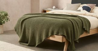 An Image of Grove 100% Stonewashed Cotton Waffle Bedspread,150 x 200cm, Olive