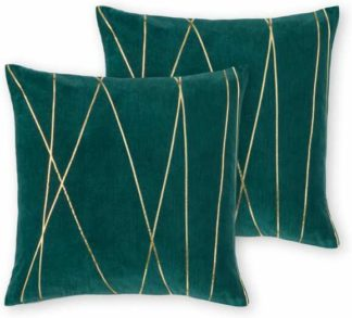 An Image of Lonford Set of 2 Velvet Cushion, 45x45, Peacock Green & Gold