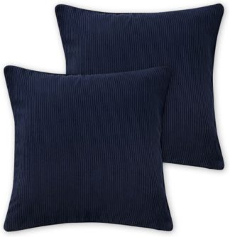 An Image of Selky Set of 2 Corduroy Cushions, 50 x 50cm, Navy Blue