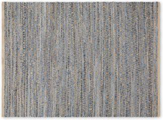 An Image of Jozua Jute & Denim Chindi Rug, Large 160x230cm, Indigo Blue