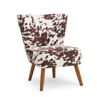 An Image of Rocco Cow Print Cocktail Chair Natural