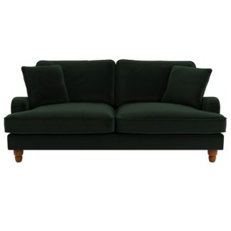 An Image of Beatrice Velvet 3 Seater Sofa Bottle (Green)