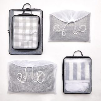 An Image of 5 Piece Grey Cube Packing Set Clear