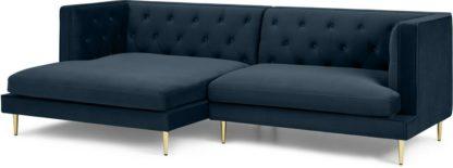An Image of Goswell Left Hand Facing Chaise End Corner Sofa, Sapphire Velvet