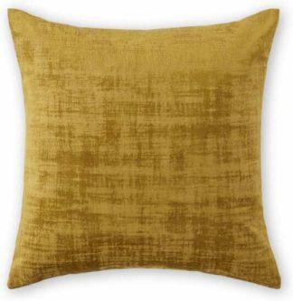 An Image of Tabitha Set of 2 Distressed Velvet Cushions, 45 x 45cm, Dark Saffron Yellow