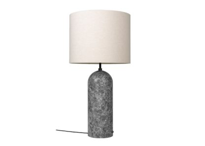 An Image of Gubi Fol19 Gravity Floor Lamp XL Low Grey Marble Base Canvas Shade