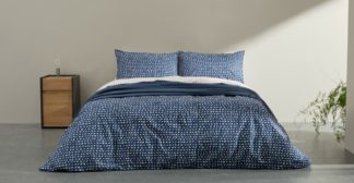 An Image of Uxi Cotton Duvet Cover + 2 Pillowcases, Double, Midnight Blue & Washed Red UK