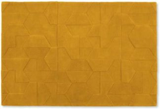 An Image of Hayden Geometric Carved Wool Rug, Large 160 x 230cm, Mustard