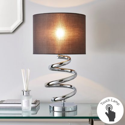 An Image of Etta Chrome Touch Dimmable Table Lamp Grey