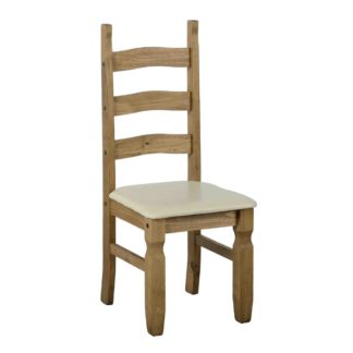 An Image of Corona Pine Pair of Cream Dining Chairs Natural