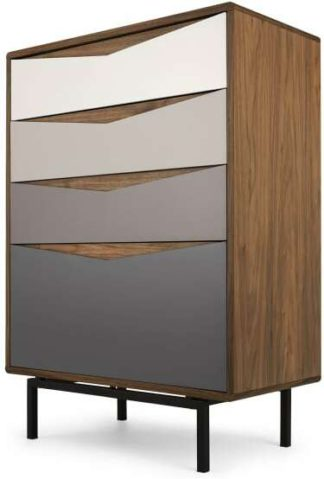 An Image of Louis Tall Chest Of Drawers, Walnut & Warm Neutrals