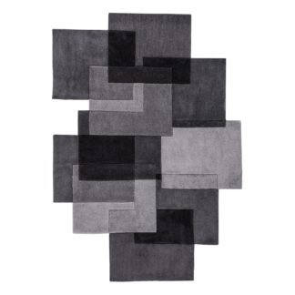 An Image of Grey Squares Shaped Geometric Rug Grey