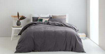 An Image of Alexia Stonewashed Cotton Duvet Cover + 2 Pillowcases, King, Graphite UK
