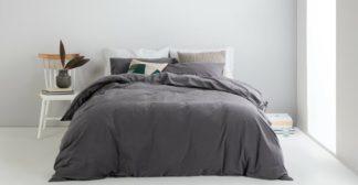 An Image of Alexia Stonewashed Cotton Duvet Cover + 2 Pillowcases, Double, Graphite UK