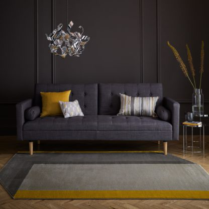 An Image of Jasper Shaped Rug Grey and Yellow