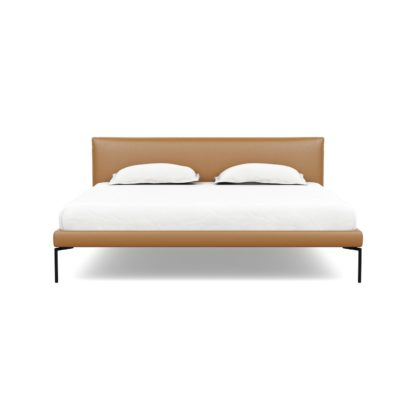 An Image of Heal's Matera Bedstead Super King Daino Leather Parchment Black Feet