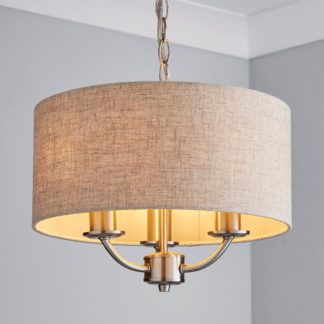 An Image of Preston 3 Shaded Steel Ceiling Fitting Natural