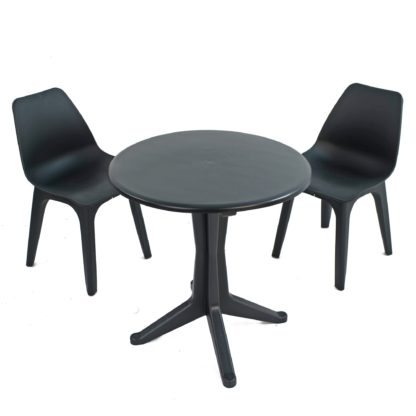 An Image of Levante 2 Seater Anthracite Bistro Set with Eolo Chairs Grey