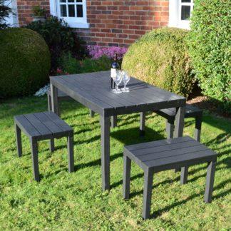 An Image of Trabella Roma 4 Seater Bench Rectangular Dining Set Grey