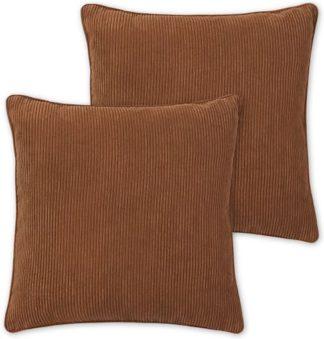 An Image of Selky Set of 2 Reversible Corduroy Cushions, 50 x 50cm, Tan & Blush Pink