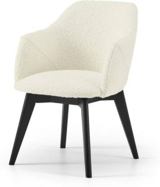 An Image of Lule Office Chair, Faux Sheepskin with Black Legs
