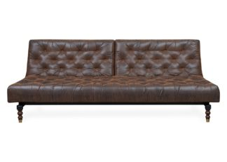 An Image of Heal's 40 Winks Sofa Bed In Antique Faux Leather Brown Dark Turned Feet
