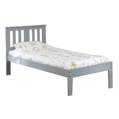 An Image of Kingston Grey Pine Bed Frame Grey