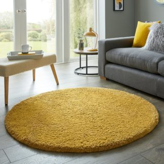 An Image of Cosy Teddy Round Rug Yellow