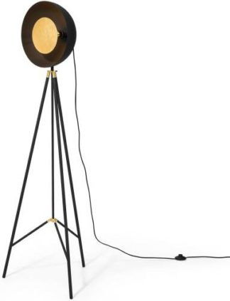 An Image of Ward Tripod Floor Lamp, Black & Gold Foil