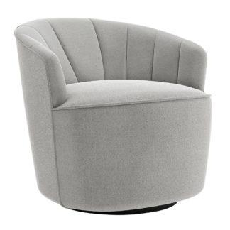 An Image of Matilda Boucle Swivel Chair Light Grey