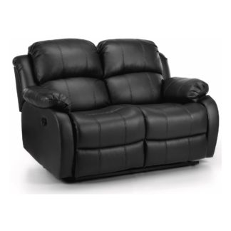 An Image of Anton Bonded Leather Reclining 2 Seater Sofa Black