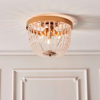 An Image of Endon Celine 3 Light Crystal Flush Ceiling Fitting Gold