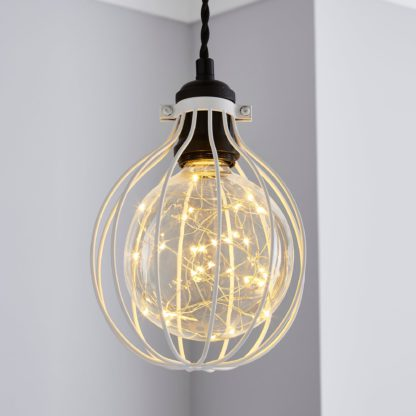 An Image of Charlie Industrial Bulb Cage Pewter