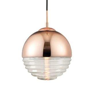 An Image of Endon Paloma Ribbed Glass Ceiling Fitting Brown, Pink and Clear