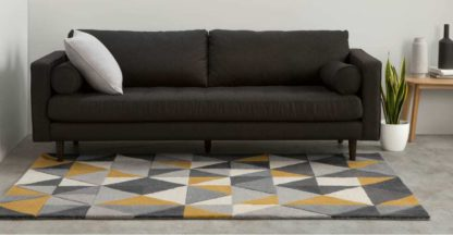An Image of Henrik Hand Tufted Wool Rug, Large 160 x 230cm, Mustard and Grey